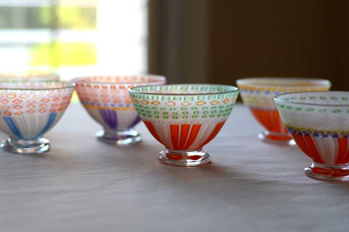 Footed murrine cups by Ikushima Harumi