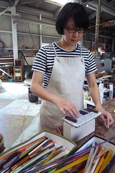 Glassmaker Ikushima Harumi at her hot glass studio in Shizuoka Japan