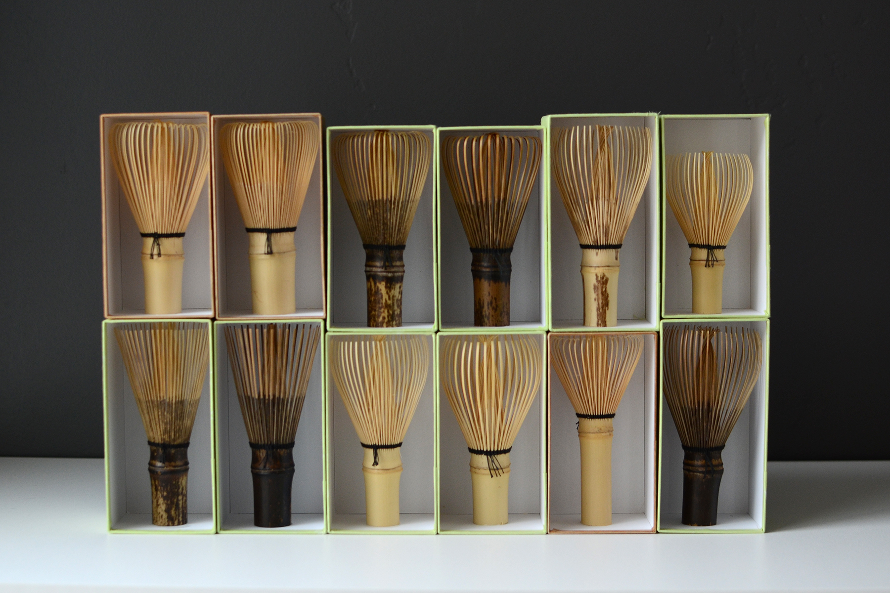 Tea Whisks by Tanimura Tango <br /> From the top left: Kazuho, Hachijuppondate, Sohenryu, Araho-Sohenryu, Unmondake shin-kazuho, Shin-kochasen <br /> From the bottom left: Soshuryu, Araho-Soshuryu, Shin-Kazuho, Shin-Araho, Tenmoku, Kurotake Shin Kazuho